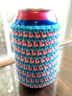 Blue and Pink Striped Handmade Crocheted Cotton Soda/Beer Can Cozy/Coozie - Machine Washable by HoffmanHandicrafts on Etsy