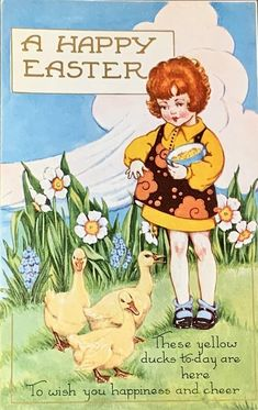 vintage Easter postcard -- art deco red-headed ginger girl feeding ducks with flowers Vintage Greeting Cards, Vintage Postcards, Vintage Ephemera, Vintage Images, Easter Illustration, Book Illustration, Easter Art, Easter Decor, Easter Eggs