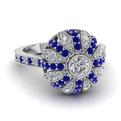 white-gold-round-white-diamond-engagement-wedding-ring-with-blue-sapphire-in-pave-set-FD1068RORGSABL-NL-WG