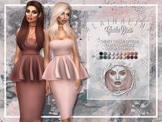 Bodycon midi dress with peplum detail  Found in TSR Category 'Sims 4 Female Everyday'
