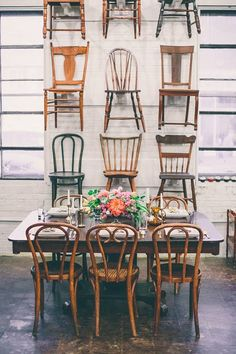"I mean...it doesn't get much better than this!  One of our favorite showroom vignettes is ""The Chair Wall"" *Paisley & Jade vintage & Eclectic Furniture Rentals for Events, Weddings, Theatrical Productions & Photo Shoots*"