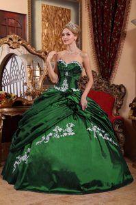 Modest Strapless Dark Green Taffeta Quinceanera Dresses   BALL ...