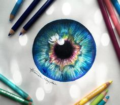 Pencil Art Drawings, Realistic Drawings, Art Sketches, Eyes Artwork, Eye Sketch, Color Pencil Art, Watercolor Pencils, Eye Art, Art Sketchbook