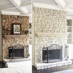 Newest Screen Fireplace Remodel whitewash Popular Romabio Classico Limewash is the perfect product for quick and luxurious fireplace makeovers. Pallet Fireplace, Farmhouse Chic, Remodel, Limewash, Stone Fireplace Makeover, Colonial House, Painted Stone Fireplace, Painted Brick, Fireplace