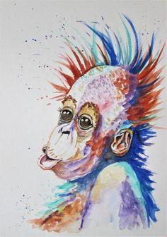 ORANGUTAN RAINBOW, Monkey, watercolour