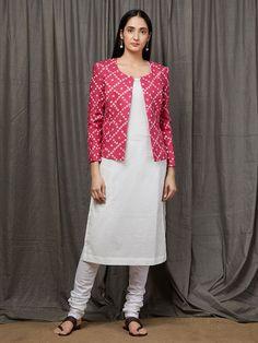 Red Cotton Kurta with Beige Kalamkari Skirt - Set of 2 Jacket Style Kurti, Kurti With Jacket, Kalamkari Skirts, Kurta Patterns, Indian Gowns Dresses, Pakistani Dresses, Kurti Embroidery Design, Kurta Neck Design, Neck Designs For Suits