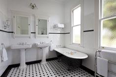art deco bathroom white tiles with black border                                                                                                                                                     More
