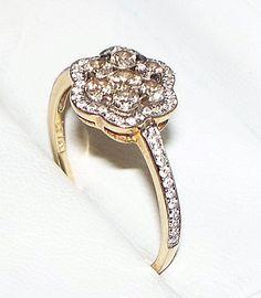 Levian Chocolate & Vanilla Diamond Cluster Flower Ring 14K Yellow Gold / Sz 8.5 #LeVian #Cluster