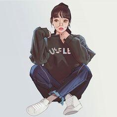 Anime Drawings Ready For Anything - Won Bin Lee is an artist from South Korea. Art Anime Fille, Anime Art Girl, Anime Girls, Manga Girl, Naruhina, Hinata Hyuga, Boruto, Girl Cartoon, Cartoon Art