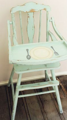 The Boutique Showcase Vintage Farmhouse High Chair by The Tattered Hanky  www.prodigalpieces.com