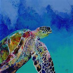Original Turtle Malerei - umgekehrte Acryltechnik - Hawaiian Honu Meeresschildkröte - skurrilen Ocean Art - Schwimmen Meeresschildkröten im Ozean - Kauai-Kunst