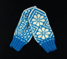 Norwegian Knit Mittens, Blue and White Knit Mittens, Wool Yarn, Hand Knitting, Two By Two, Blue And White, Etsy, Fashion, Accessories, Moda