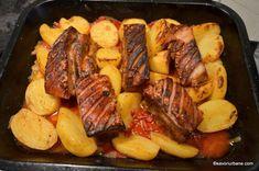 Friptura de porc la tavă cu vin, usturoi si legume   Savori Urbane Healthy Nutrition, Pot Roast, Sausage, Meat, Ethnic Recipes, Pork, Carne Asada, Roast Beef, Healthy Food