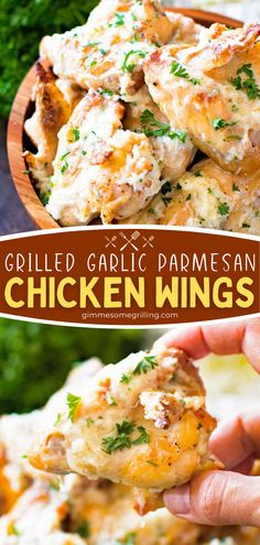 Turn to this easy grilling recipe if you are putting together a quick weeknight meal or doing some entertaining! You will love the flavor of these crispy grilled chicken wings recipe with a Parmesan garlic sauce. Perfect as a main dish for dinner or appetizer for parties! Easy Homemade Recipes, Fun Easy Recipes, Easy Appetizer Recipes, Delicious Recipes, Dinner Recipes, Appetizers, Garlic Recipes, Grilled Chicken Recipes, Chicken Wing Recipes