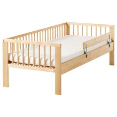 IKEA - GULLIVER, Bed frame with slatted bed base, , Solid wood, a hard-wearing natural material.The guardrail prevents your child from falling out of the bed.Slatted bed base for good air circulation. Ikea Toddler Bed, Ikea Childrens Beds, Ikea Kids Bed, Grey Furniture, Furniture Design, Ikea Solid Wood, Kids Bed Frames, Cama Ikea, Homes