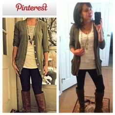 Pinterest Told Me To!  Black leggings, cream t-shirt, green cardigan, and brown boots.
