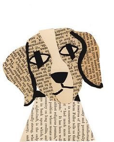 adorable collage beagle...collage of old book papers...black outlining sharpens the design...luv it!!!