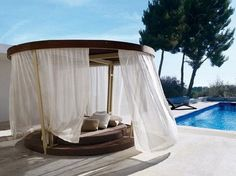 Image of: Canopy Swing Bed Side Pool