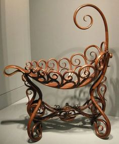 The bentwood cradle, also designed by Thonet c. Thonet's bentwood furniture was made through a steaming process to make the wood pliable, allowing him to design whatever he wished. Victorian Furniture, Old Furniture, Baby Furniture, Unique Furniture, Vintage Furniture, Furniture Design, Children Furniture, Furniture Storage, Ideas Decorar Habitacion