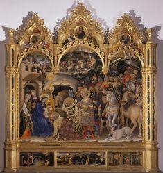 Gentile da Fabriano,Adorazione dei magi,1423,polittico,Firenze,Galleria degli Uffizi