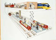 The connection between the Post Office Rail network and Paddington Station in London Underground Stations, Underground Cities, London Transport, Public Transport, Transport Posters, British Rail, Old London, Cutaway, Graphic Design Typography