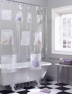 Pockets PEVA Shower Curtain