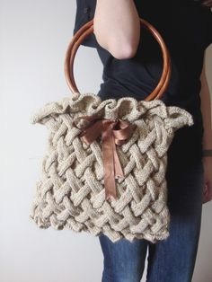 knit purse (no pattern) Crochet Handbags, Crochet Purses, Knit Or Crochet, Knitting Projects, Crochet Projects, Knitting Patterns, Crochet Patterns, Craft Bags, Knitted Bags