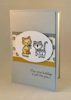 A friend at work has asked me to create a special birthday card for someone who loves cats. So of course I grabbed my Pretty Kitty stamp set. I didn't, however, want the card to be too 'cutesy' so chose. Dog Cards, Baby Cards, Kids Cards, Special Birthday Cards, Kids Birthday Cards, Cat Birthday, Card Making Tutorials, Making Ideas, Pretty Cats