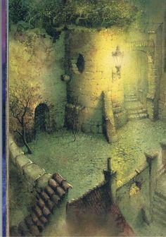 The garden Pavel Čech Book Illustration, Illustrations, Dungeon Maps, Fantasy Castle, Fairy Houses, Artist At Work, My Images, Painting & Drawing, Amazing Art
