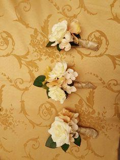 Handmade Peach, white and gold boutineres. #silkflowers