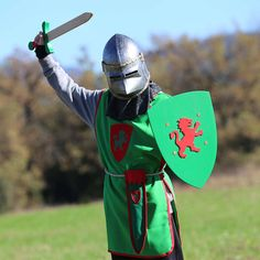 PACK GREEN Disfraz niño, caballero Medieval color verde.