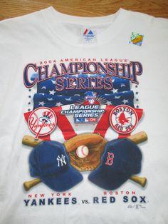 2004 American League Championship BOSTON RED SOX v NEW YORK YANKEES X Shirt Holo #Majestic #BostonRedSox