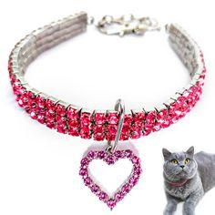 Zgarda pisici, zgarzi caini mici, bijuterie colier pentru animale de companie și jucării, colier cu strasuri roz și pandantiv inimă Bracelets, Necklaces, Charmed, Jewelry, Euro, Style, Swag, Jewlery, Jewerly