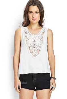 Buttoned Crochet Top | FOREVER21 - 2000087630