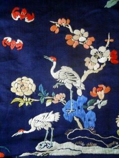 ANTIQUE FRAGMENT DRESS CHINESE SILK FABRIC FLOWERS EMBROIDERY 19TH-CENTURY