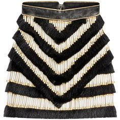 Balmain Embroidered Leather Skirt (85.390 UYU) ❤ liked on Polyvore featuring skirts, mini skirts, balmain, black, leather, women, embellished skirt, zipper skirt, embroidered skirt and leather zipper skirt