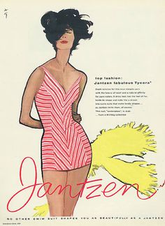 Illustration by René Gruau, June 1958, 'Top fashion:Tycora', Jantzen Swimsuit ad, Seventeen.