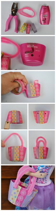 Make a Barbie Tote bag (that fits in a lot of cute things inside) out of a small. Make a Barbie Tote bag (that fits in a lot of cute things inside) out of a small bottle Diy Barbie Clothes, Diy Clothes, Clothes Women, Girl Dolls, Barbie Dolls, Barbie Kids, Barbie Stuff, Doll Stuff, Diy For Kids