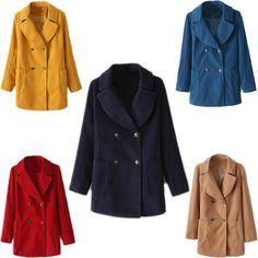 Fashion Double-breasted Women Winter Warm Woolen Lapel Thick Parka Jacket Coat #Alralel #Windbreaker