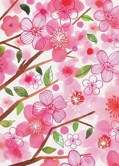 Margaret Berg Art: Pink Cherry Blossoms       many more here