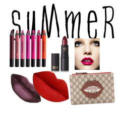 """summer 2016"" by tabitha-escoe ❤ liked on Polyvore featuring beauty, Urban Decay, Gucci, Lipstick Queen and summerlipstick"