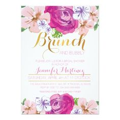 Shop Brunch & Bubbly Floral Bridal Shower Card created by Be_In_Love. Personalize it with photos & text or purchase as is! Foil Wedding Invitations, Watercolor Wedding Invitations, Wedding Invitation Design, Bridal Shower Invitations, Custom Invitations, Dinner Invitations, Pink Invitations, Bridal Shower Cards, Baby Shower Cards