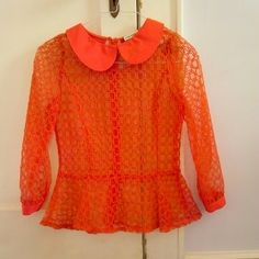 Anthropologie Gracia Orange Peplum Shirt EUC XS EUC Gracia orange peplum. From anthropologie. Barely worn. Fits size XS. I have a necklace that matches PERFECTLY for sale too! Anthropologie Tops