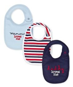Boys 'Mummy and Daddy' Bib - 3 Pack Bibs, How To Find Out, Daddy, Dribble Bibs, Burp Cloths, Aprons