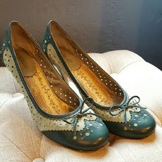 Adorable Anthropologie Seycelles Spectator Heels These are out of this world cute and I wish they fit me like they did before I had kids. Teal Green color is phenomenal. Made of soft gorgeous leather topped with a dainty bow...what's not to love!? They have been worn but only show scuffs in the heel area (see pics). Great heels and super comfortable! Seychelles Shoes Heels