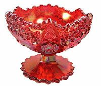 Gorgeous red carnival pedestal bowl