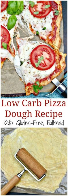 "Get creative with this low carb pizza dough recipe! This popular and filling LCFH ""Fat Head"" dough is made with only four ingredients. #Pizza #FatHead #Dough #Keto"