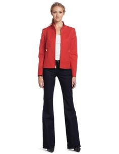 Jones New York Women's Zip Front Jacket, Grenadine, 16 Jones New York. $149.00. Bright bold color. 98% Cotton/2% Spandex. Made in China. Dry Clean Only. Front pockets