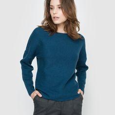 909c2a2af72561 Sweter z kaszmiru Qualité Best. Fantazyjna prążkowana dzianina. Okrągły  dekolt. Długi rękaw.
