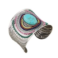 Women's Turkish mosaic or Indian princess style, antique silver tone statement cuff bracelet bangles designed with CZ crystals & simulated black Onyx or Turquoise main-stone.  #Cuff #Bracelet #Bangles #Hot #New #Bohemian #Indian #Turkish #Mosaic #Style #Women's #Jewelry